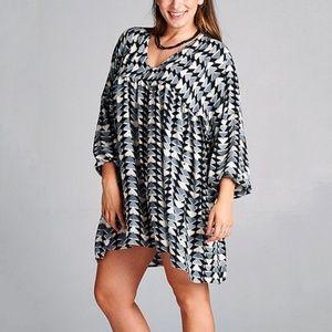 Velzera geometric print babydoll tunic dress, grey